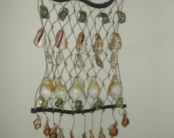 22 Inch  Handcrafted  Florida  Keys Shell And  (Jute) Netting  Wall Hanging