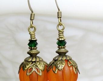 Pumpkin Earrings, Halloween Jewelry, Orange Lucite Bead, Swarorvski Crystal Thanksgiving Earrings, Fall/ Autumn Earrings, Harvest Earrings