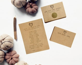 Fall Bridal Shower Games - Rustic Kraft Wedding Games Package - Gold Scratch Off & Advice Cards - Set of 3 Bridal Shower Games for 15 Guests