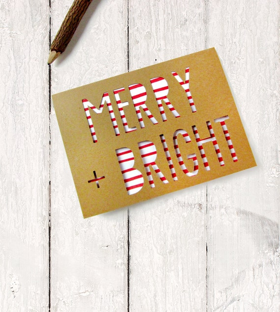 Boxed Christmas Cards - Set of 6 Holiday Card - Merry & Bright - Red and White Christmas Cards - Rustic Greeting Cards - Papercut Note Cards