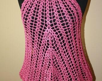 Beach Dress / swimwear cover up. Rose Pink crochet tunic. Summer crochet tunic. Ready to ship.