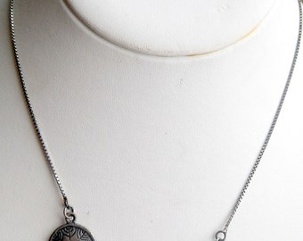 Unusual Floral Tri-Panel necklace - Sterling Silver - Flower