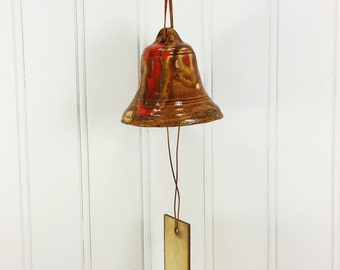 70s Ceramic Bell Wind Chime, Golden Brown Orange Drip Glaze Hanging Bell Chime