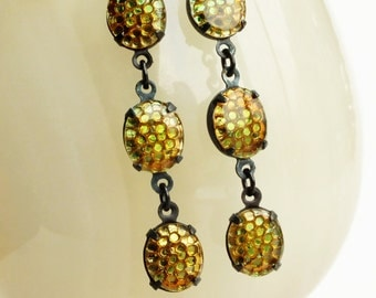 Golden Olive Brown Earrings Vintage Thousand Eyes Honeycomb Earrings Olive Amber Dangles Sahara Gold Dangle Earrings