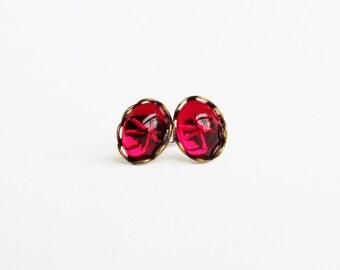 Tiny Ruby Red Stud Earrings Vintage Swarovski Crystal Studs Hypoallergenic Dark Pink Star Post Earrings