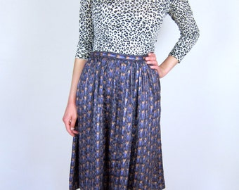 Silky Patterned High Waisted Skirt