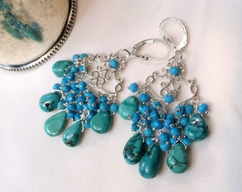Turquoise Chandelier Earring Turquoise Wire Wrap Sterling Silver Handmade Turquoise Cluster Earring Turquoise Boho Chic Statement