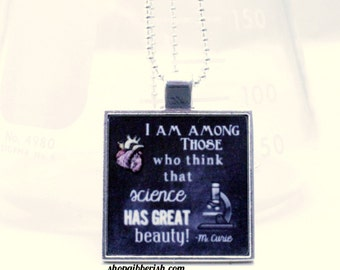 Marie Curie Science Necklace Tile Jewelry