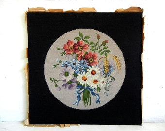 Needlepoint Flowers | Wildflowers | Daisies Roses Poppies | Vintage Embroidered Floral Bouquet