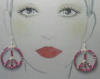 Bohemian Luv Sterling Silver Peace Earrings - Fuchsia Pink Swarovski Crystals