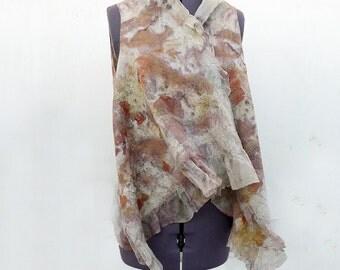 Shawl wrap vest  wool nuno felted Eco printed