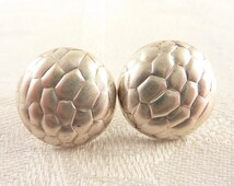 Vintage Round Textured Sterling Post Earrings