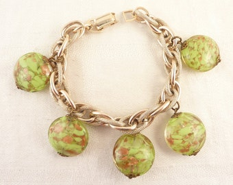 Vintage Silver Tone Link Round Green Venetian Glass Bracelet