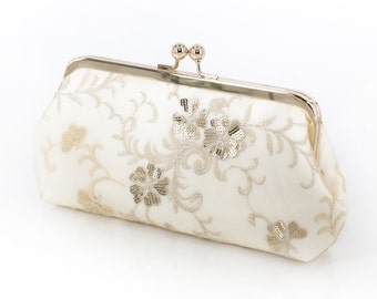 Ivory Bridal Clutch with embroidery and gold / beige sequins 8-inches