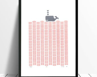 WHALE Limited Edition Screen Print (Rose Blush) A3 size