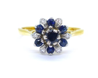 Vintage Engagement ring Sapphire diamond Halo cluster ring 18ct gold 18K Mid Century English Anniversary Special brithday ring FREE SHIPPING