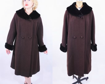 1960s fur collar coat | Lord & Taylor chocolate brown fur collar mod swing coat | vintage 60s coat