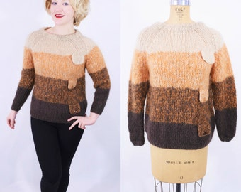 1960s sweater vintage 60s brown ombre neutral wool mohair sweater L