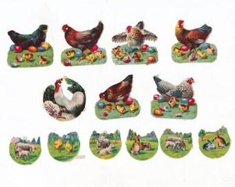 Lot of 13 Vintage Antique Scraps | Chickens & Animals | Decoupage Scraps | Paper Scraps
