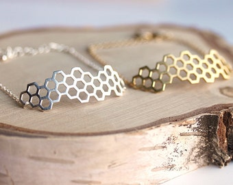 Honeycomb Hexagonal Shaped Gold or silver toned bracelet,Gift for her,Gift for wife, Gift for daughter, Honeycomb,Handcrafted jewelry by MKY