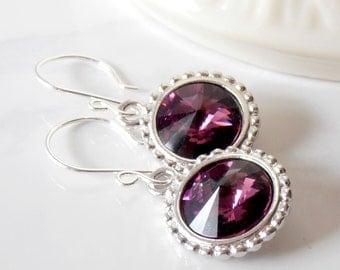 Crystal Rhinestone Drop Earrings, Sparkly Holiday Jewelry, Plum Crystal Dangle Earrings, Gift for Mom Under 25, Purple Earrings, Handmade