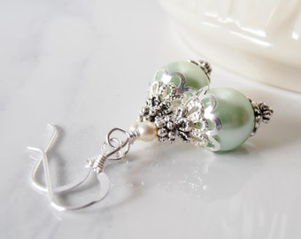 Mint Pearl Earrings, Bridesmaid Earrings, Mint Wedding Jewelry, Gift for Bridesmaid, Pearl Dangles, Light Green, Beaded Jewelry, Under 20