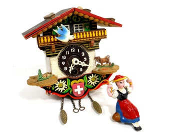 Vintage Wall Clock Wood Alpine Chalet Cottage House Cuckoo Retro Home Decor Blue Bird Girl Woodland PeachyChicBoutique