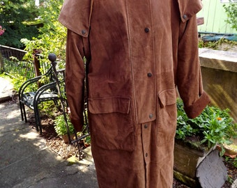 Vintage Suede Leather Outback Riding Ranchers  Equestrian Long Coat