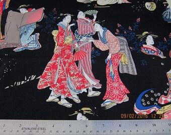 "GEISHA ASIAN FABRIC 1 Yard Alexander Henry ""stroll by the edogawa"" Black 1999 Rare - #A1"