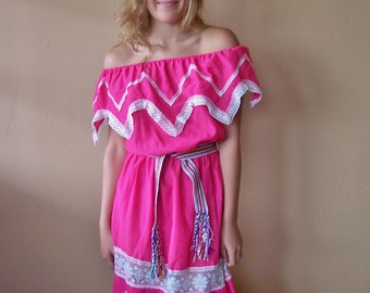 Mexican Dress, Off shoulder dress, Rose Mexican dress, Frida Kahlo Dress, size M