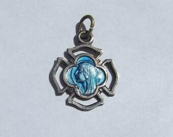 Vintage Enamel Saint Bernadette of Lourdes Medal