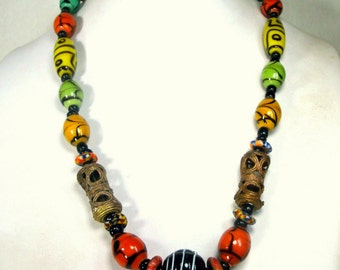 African Ashanti Lost Wax Brass and Faux Dzi Beads Necklace, Colorful Glass Tribal and Metal Beads, 1990s , Brass from Ghana,