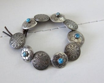 Silver Turquoise // Etched Buttons and Leather Bracelet