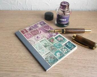 Bullet Journal, Dot Grid Travel Journal   Pocket A6 Travel Notebook   Boho Shabby Chic Notebook, Vintage World Stamps, Eco Mail Art Collage