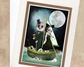 Blank Greeting Card & Envelope  - Nursery Rhyme - The Owl And The Pussycat