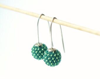 globe earrings green  mint dots silver hooks