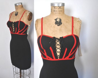 1990s Micro Mini Dress / corset lace up / bodycon bandage