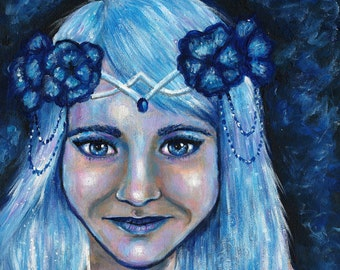 "Original Acrylic, Magical fairy, 8 x 8"" - faery, Fantasy Art"