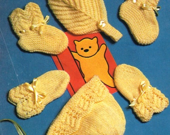 Post Free Knitting Pattern / 2 Styles Baby Accessories / Winter Warmers  / Booties, Hats, Mittens / instant download  / Post FREE Pattern