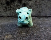 RESERVED for Sue C. Artisan made ceramic pendant - Blue Hippo - turquoise - Egyptian - focal