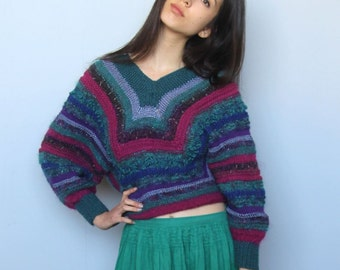 art school sweater -- vintage 80s abstract mixed fiber free knit sweater -- S/M