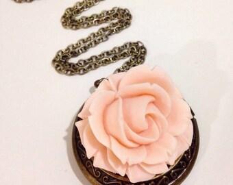 Locket necklace flower necklace pendant necklace bronze locket pink flower necklace pretty locket necklace- Pink Rose Locket
