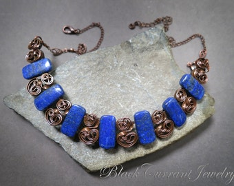 Lapis Lasuli large bib necklace - copper wire wrapped