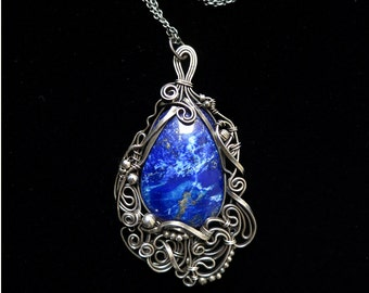 Lapis Lazuli Cabochon and Sterling Silver Pendant - Asymmetrical Design