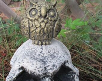 Tiny Owl Garden Statue Concrete Metallic Gold
