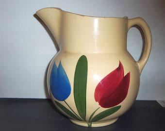 "Vintage Watt Tulip Picher 8"" Yellow Ware Pottery Pitcher Farmhouse Kitchen Vase"