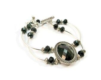 Classic Silver and Black Bracelet, Double Strand Bracelet, Curved Tube Bracelet, Gift for Her, Black Crystals
