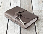 Brown Leather Journal with Antique Skeleton Key