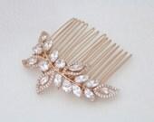 Rose Gold Bridal hair comb, Rose Gold Wedding headpiece, Bridal hair comb, Wedding hair clip, Crystal hair comb, Rhinestone head piece, pins