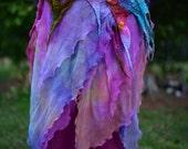 Nuno Felted Rainbow Pixie Fairy Belt Skirt OOAK